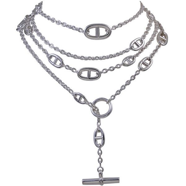 """HERMES Silver 63"""" Chain ❤ liked on Polyvore featuring jewelry, necklaces, silver necklace, hermes jewelry, chain jewellery, chain necklaces and hermès"""