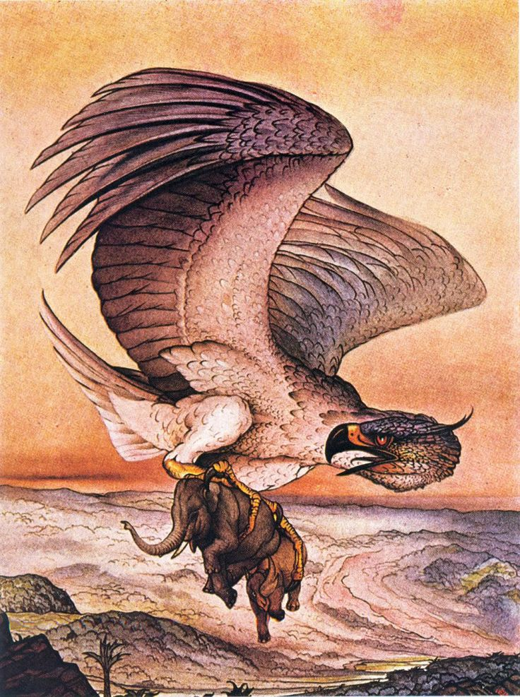 Illustration from THE ARABIAN NIGHTS, showing a roc (a mythological bird of immense size) carrying an elephant in its talons.