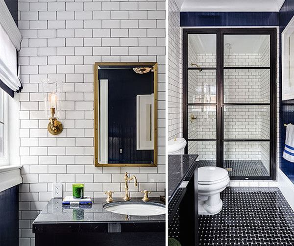 Gentleman's Bath Gold fixtures pop against an understated black-and-white palette in Evars + Anderson Interior Design's masculine bathroom. Dark-grouted subway-tiled walls find their near inverse in the floor's basketweave pattern.