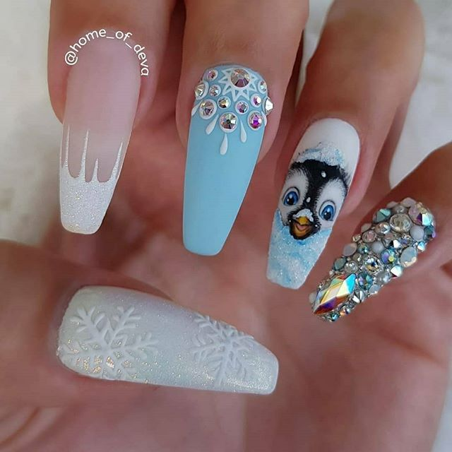 Coffin Shaped Christmas Nails Icy French Design Sugared Snowflakes Penguin Art Lots Of Rhinestone Diam Xmas Nails Coffin Nails Designs Cute Christmas Nails