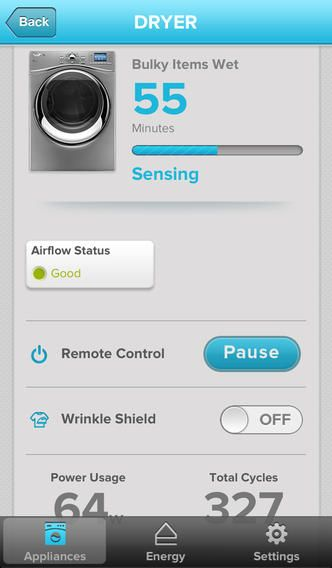 Whirlpool Smart Appliances app for iPhone - Tumble Dryer control
