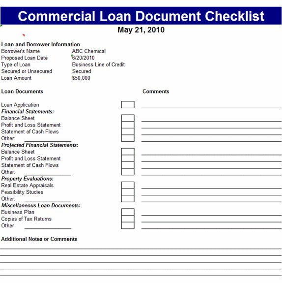 commercial loan document checklist template