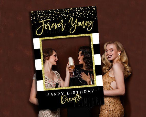 DIGITAL DOWNLOAD Birthday decoration for women 50th 60th 70th Birthday Photo booth frame Birthday party decoration Selfie frame black gold