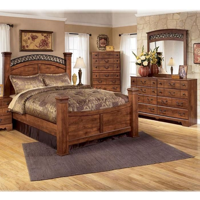 4 piece queen bedroom set in brown cherry nebraska for Bedroom furniture sets queen