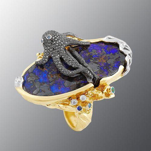"Moscow jewelry company ""Master R.O.S.S.I.I."" (""Master of Russia"") - Ring. stones diamonds, Emerald, Sapphire, Rubin, Opal"