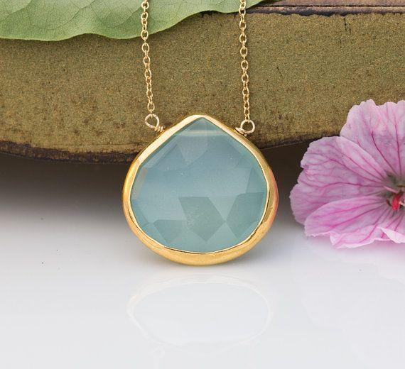 Faceted Bezel Set Aqua Blue Chalcedony Necklace  14k by delezhen, $55.00