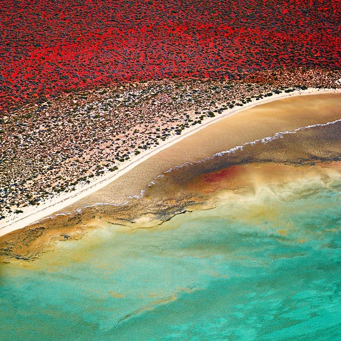 An aerial shot of the beautiful heritage listed Shark Bay area in the Gascoyne region of Western Australia.