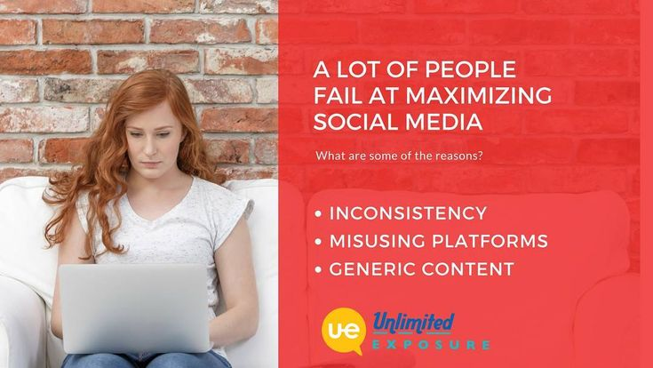 A lot of people fail at maximizing social media. Here are some of the reasons: ••• - Inconsistency - Misusing Platforms - Generic Content ••• Contact us today to solve these issues ASAP! www.UnlimitedExposure.com