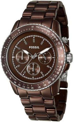 Fossil Women's CH2746 Quartz Chronograph Aluminum Brown Dial Watch