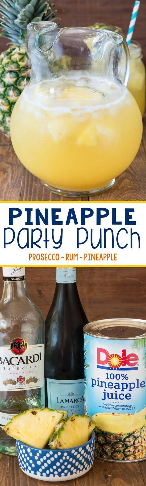Easy Pineapple Party Punch recipe - Just 3 ingredients makes the most refreshing cocktail! Plus, a non-alcoholic version too! (Pour Drink Punch Recipes)