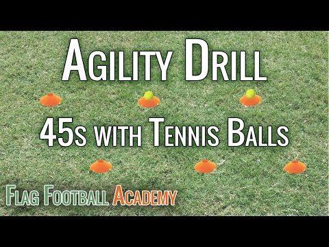 Flag Football Agility Drill - 45s with Tennis Balls - YouTube