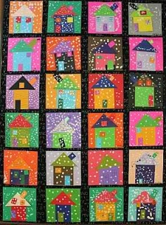 This is a classroom art project but wouldn't it make an awesome quilt? Maro's kindergarten: Snowy winter houses!