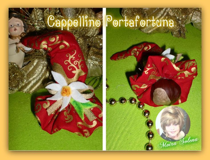 Cappellino portafortuna con castagna, come segnaposto o per decorare le confezioni regalo, oppure per appendere all'albero di Natale https://www.facebook.com/LeBamboleDiMoiraSolena/
