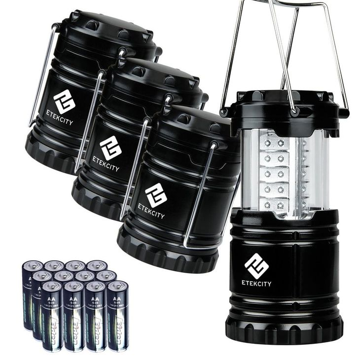 Etekcity 4 Pack Portable Outdoor LED Camping Lantern with 12 AA Batteries (Black #Etekcity