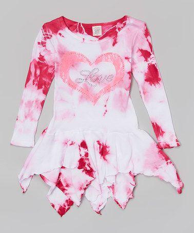 Loving this Pink & White 'Love' Tie-Dye Handkerchief Dress - Girls on #zulily! #zulilyfinds