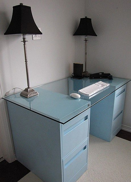 file cabinet desk - going to do this with my newly emptied filing cabinets to make Lily a craft desk!