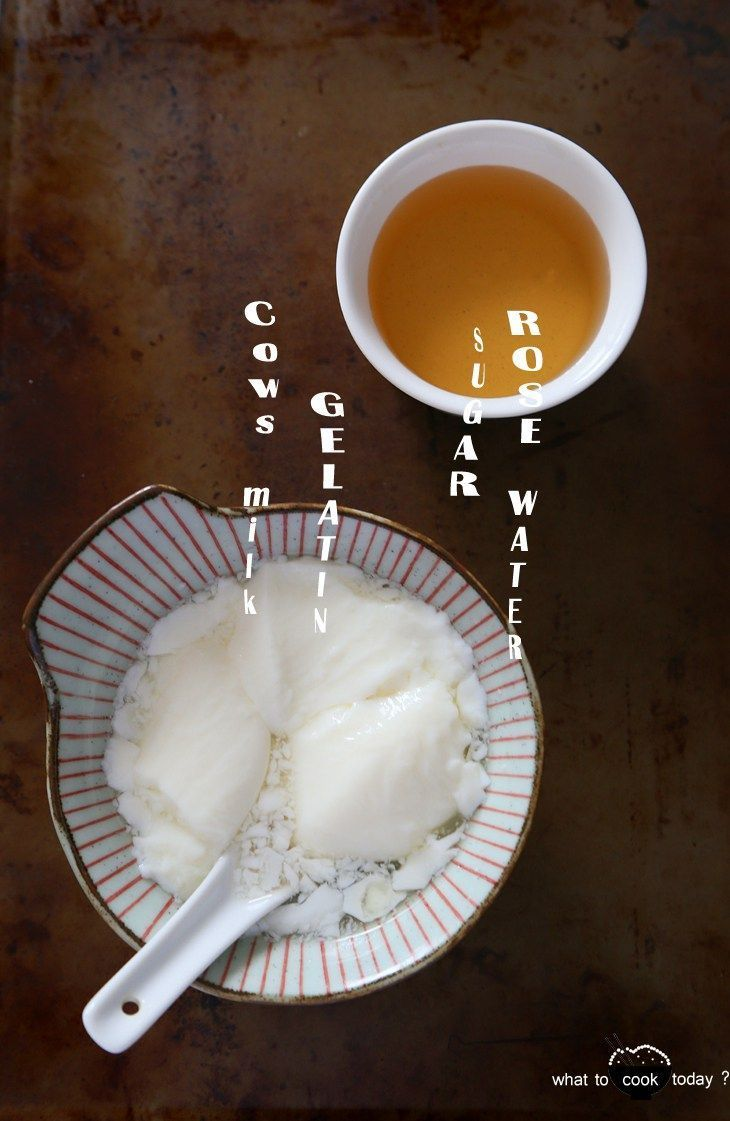 Silken milk curd with rose water syrup. cow's milk/soy milk cooked with unflavored gelatin to give you the smooth and soft curd. Serve with rose water infused syrup. So..so delicious and so easy to make. #glutenfree