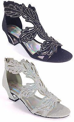 Vestido de noche mujeres Zapatos De Tacones Altos Plataforma Estrás Boda Negro Lime - 3
