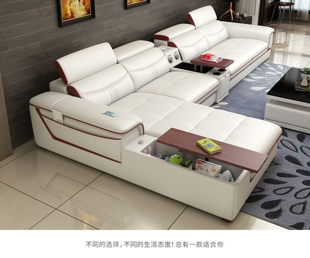 Living Room Sofa Set Furniture Real Genuine Cow Leather Sofas Bluetooth Puff Asiento Muebles De Sala Canape L S Living Room Sofa Set Sofa Set Living Room Sofa