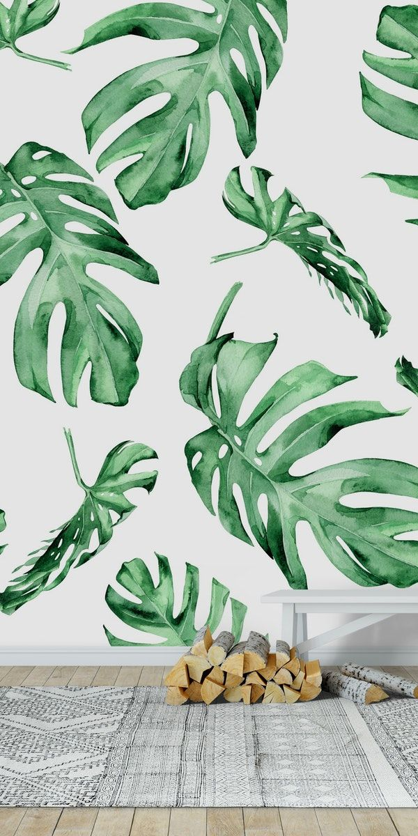 Monstera Pattern Green wall mural from Happywall flora