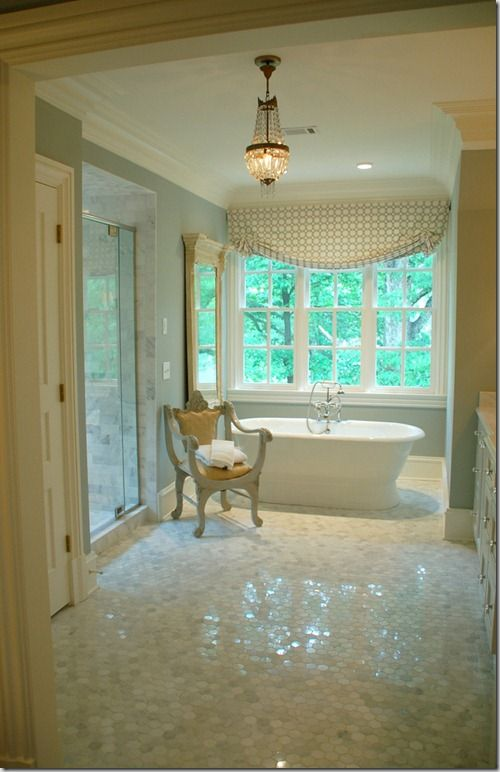 The master bathroom of designer lori tippins has a larger for Perfect master bathroom