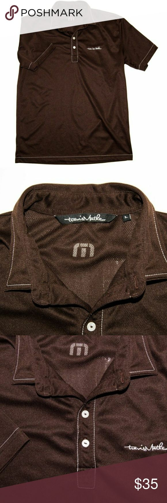 TRAVIS MATHEW GOLF POLO SHIRT BROWN POLY TRAVIS MATHEW GOLF POLO SHIRT BROWN Polyester size large Travis Mathew Shirts Polos
