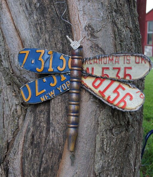 dragonfly made from old license plates, repurposing upcycling, NY OK Repurposed License Plate Dragonfly