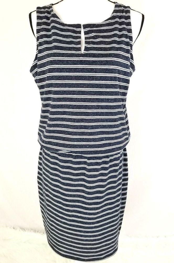 d5d8e1327ec5f7 Athleta Womens Dress Size Medium Striped Sleeveless Vida Linen Blend  Blouson 837  Athleta  ShiftDress  Casual