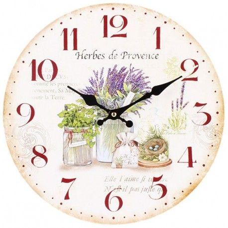 Prowansalski zegar ścienny z motywem lawendy w słoiku, z tarczą o średnicy 34 cm, z dużymi cyframi, będzie doskonałą dekoracją na przykład w kuchni bądź jadalni.