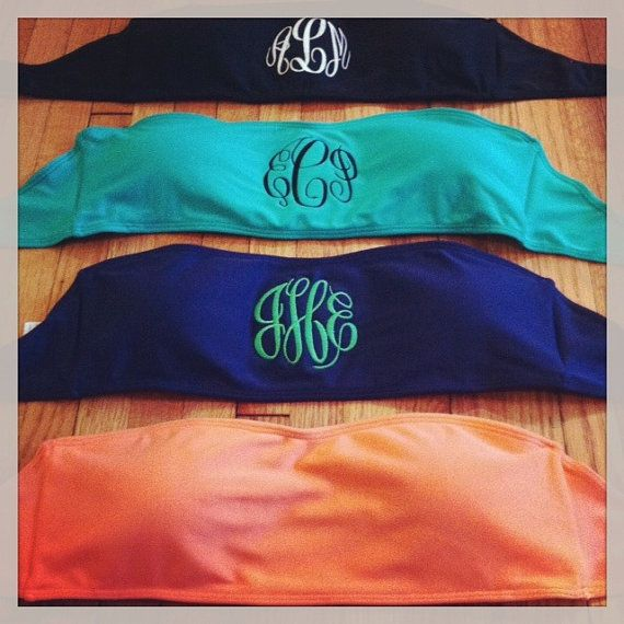 Monogrammed Swimsuit Bandeau Top  Color Choices  by hadleyandfinn, $45.00