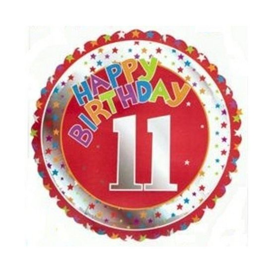 Happy Birthday 11 jaar folie ballon. Feestelijke ballon voor een 11e verjaardag. De ballon is rond en wordt gevuld met helium verstuurd. Ongeveer 45 cm groot. Deze folie ballon wordt gevuld met helium geleverd en kan derhalve niet worden geretourneerd.