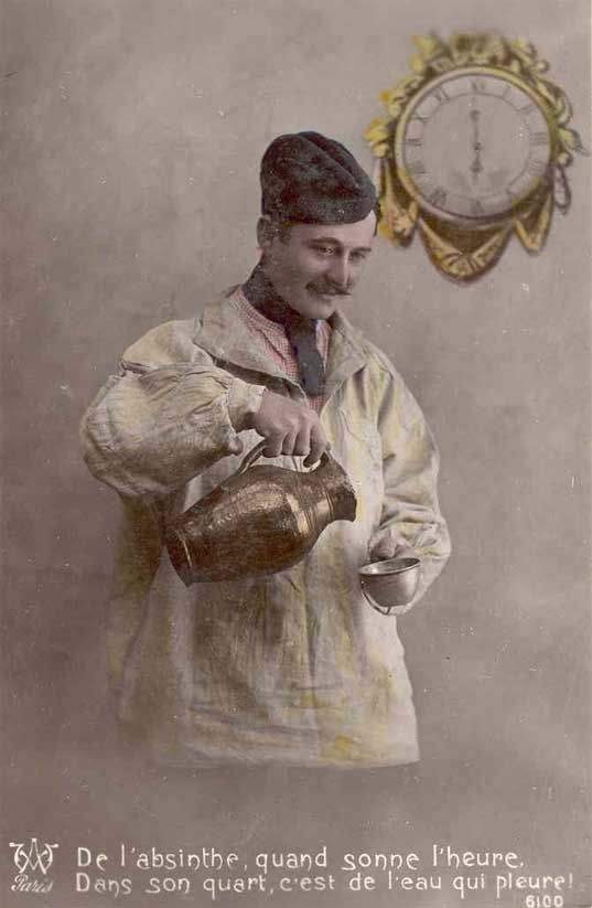 March 16th, 1915 - Absinthe Banned in France Pictured - Just water for this poilu. A good war for wine, a bad one for absinthe. The French government banned la fée verte from the onset of the war, but continually had to reissue the interdiction as consumers and producers circumvented the ban. Absinthe was at the time considered to be a hallucinogenic agent, a cause of alcoholism and degeneration in the French population. The war, on the other hand, was viewed as a rejuvenating agent.