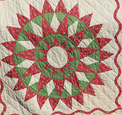 Impressive Early Antique 1800's Mariners Compass Star Quilt Red and Green | eBay