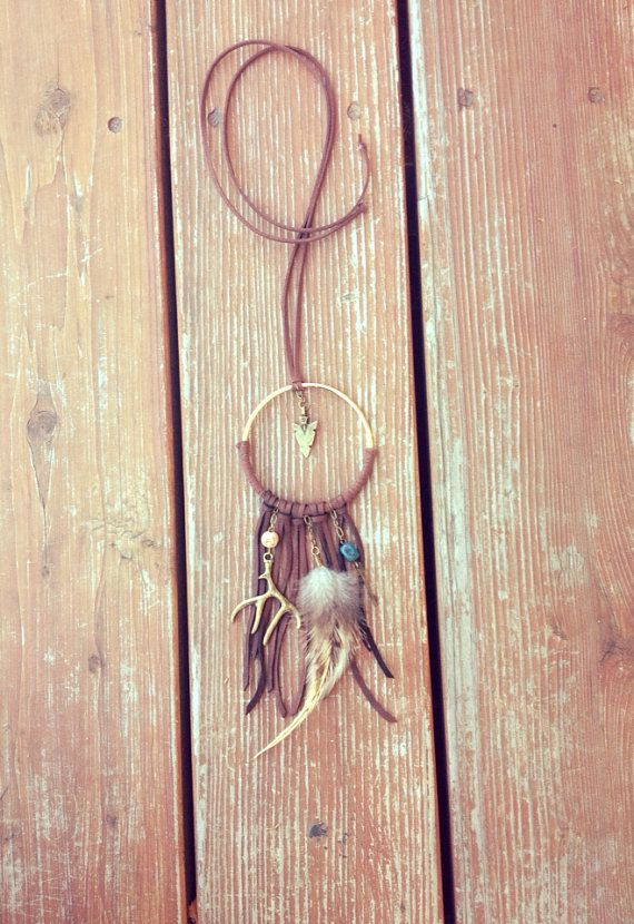 Brown Dream Catcher Dreamcatcher Necklace by MoonflowerDaydream, $42.00