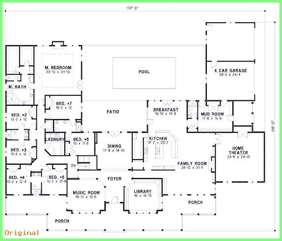 50 Home Decoration My Perfect Ranch House 7 Beds 6 Baths 6888 Sq Ft Plan 67 871 Main Fl Country Style House Plans Large House Plans 6 Bedroom House Plans