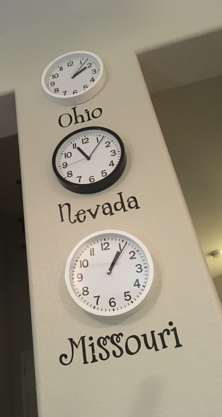 Clocks for bathroom wall - Living In Different Time Zones From Where My Husband And I Grew Up Clocks From Target And Lettering From Hobby Lobby