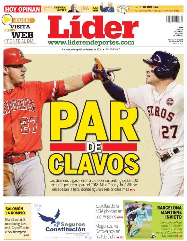 2018-02-18  Periódico Lider en deportes (Venezuela). Periódicos de Venezuela. Toda la prensa de hoy. Kiosko.net