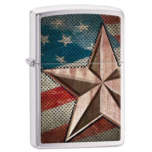ZIPPO USA FLAG STAR / BRUSHED CHROME