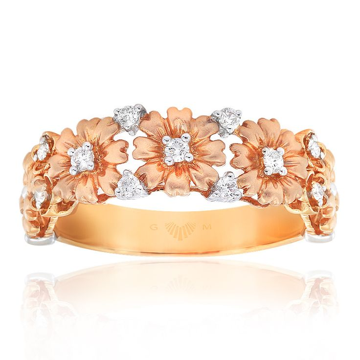 Delicately feminine Daisy floral ring with diamonds. In 18ct rose gold. Fleur de Lis rings are custom made for your finger size. Delivery is approximately 6 weeks. Pre order now.
