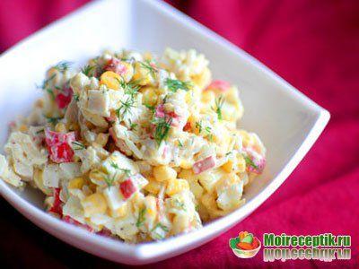 Салат с крабовыми палочками и свежей капустой