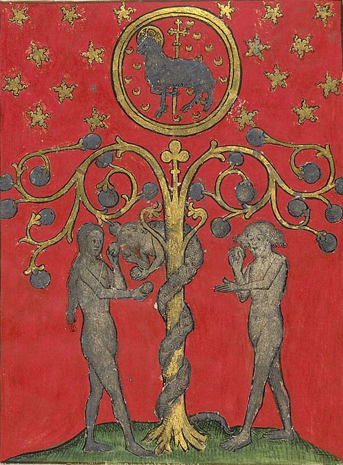 medieval:  The Temptation of Adam and Eve.  1430s. Harley 2278 f. 1v: Adam, Eve 1430, Harley 2278, The Faces, Circa 1430, Aries Rams, Crosses, Late Medieval, Man 1430S