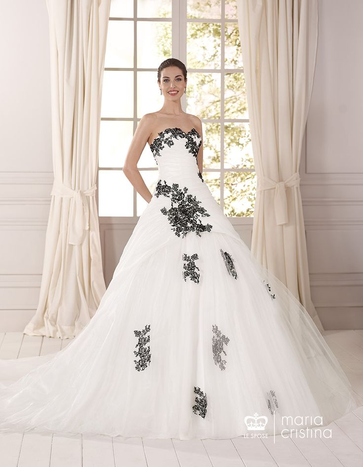 White and black lace wedding dresses