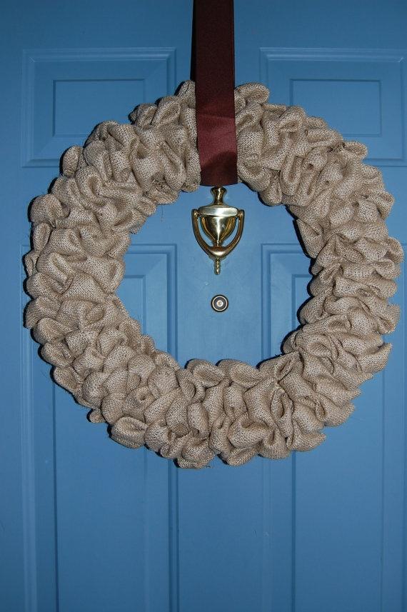 large  rustic burlap wreath for door