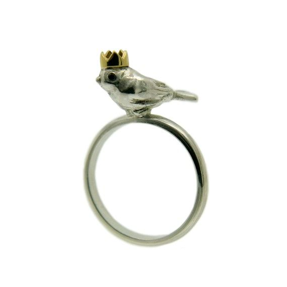 Silver Bird Ring. Birdking. Handmade Silver. Black Diamonds. 18ct Gold Crown. Made in England.