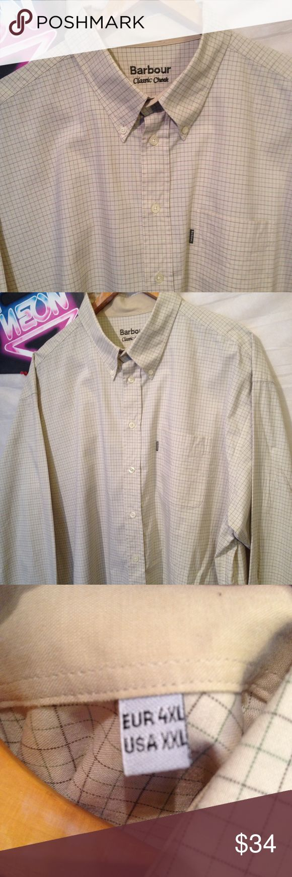 "Barbour beige classic cheek dress shirt size XXL Used shirt, very good used condition with some signs of use, button front, long sleeve, size XXL chest - 28"" shoulder to hem - 33"" sleeve - 25"" Barbour Shirts Dress Shirts"