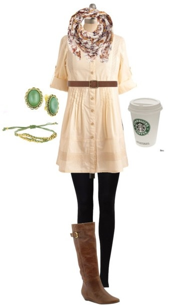 : Fashion, Style, Cream Dresses, Cute Outfits, Fall Outfits, Starbucks Cups, Accessories, Black Tights, Boots
