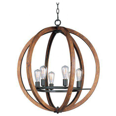 Luminaire suspendu en bois couleur naturel avec métal noir. Idéal pour salle à manger, escalier, entrée et chambre à coucher.
