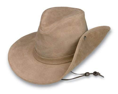 Minnetonka Western Hat Adult Aussie Durable Ruff Leather Tan 9541