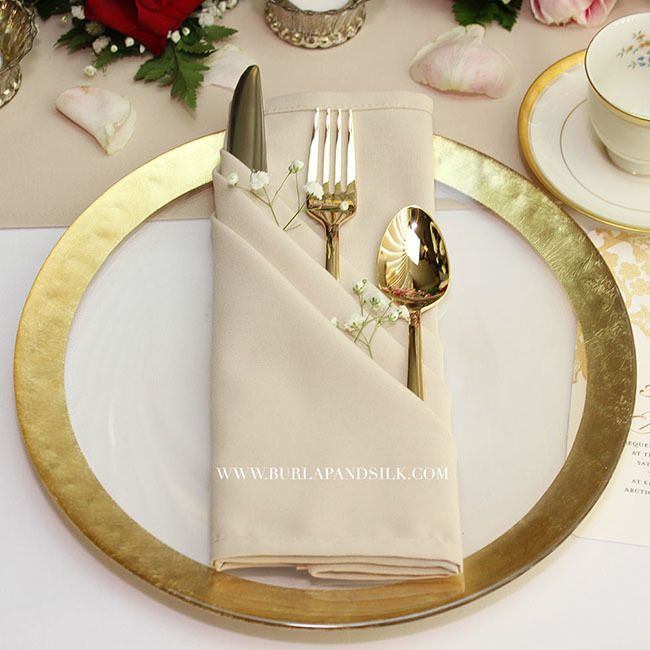 20 inch matte champagne napkins 12pack