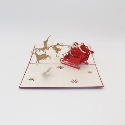 Новый 3D стереоскопический открытка Рождественский праздник ремесел летающих оленей автомобиль заводчан прямой бумаги вырезать открытку